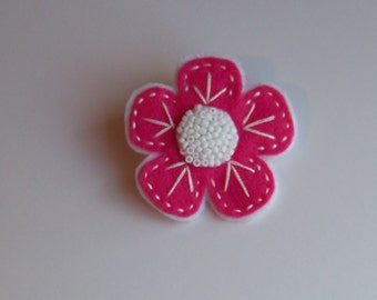 Pink and White Felt Flower Pin Brooch