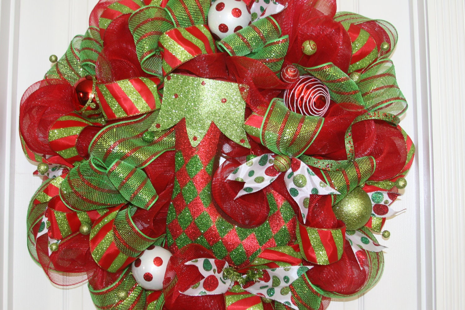 Items Similar To Christmas Deco Mesh Wreath On Etsy