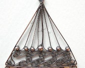 2 pcs, Brass Chandelier Component, Triangle, filigree design,  hand-knitted,  42x39x1mm