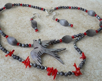 Grey and red swallow necklace and earrings