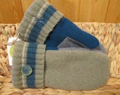 UPCYCLED WOOL MITTENS, Sage Green / Teal Stripe, Recycled Sweater Wool (47)
