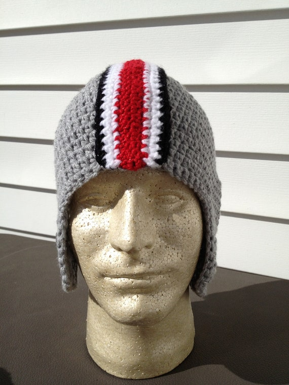 New Crochet Ohio State Football Helmet Hat with Buckeyes and sPaRkLe
