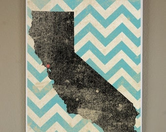 SF California Silhouette on Chevron Background: 11X17 Art Print, With Heart Studios - Nursery, Gift, Poster, Vintage