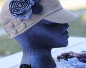 Military Style Hat with Upcycled Fabric Flowers -Tan,  Fits Both Women and Kids age 6 and Up