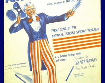 Any Bonds Today - Patriotic Uncle Sam Sheet Music Dated 1941