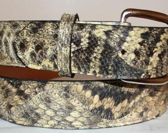 """Rattlesnake Skin Belt 1 3/8"""" wide Genuine Eastern Diamondback Rattlesnake sizes 28-48"""