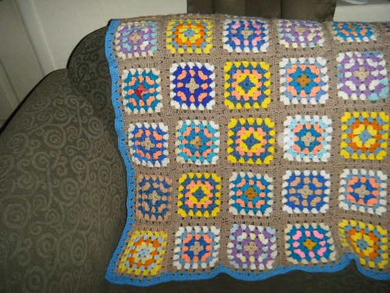 Granny Square Baby Afghan or Lap Blanket Handmade by Grandma Boys Colors