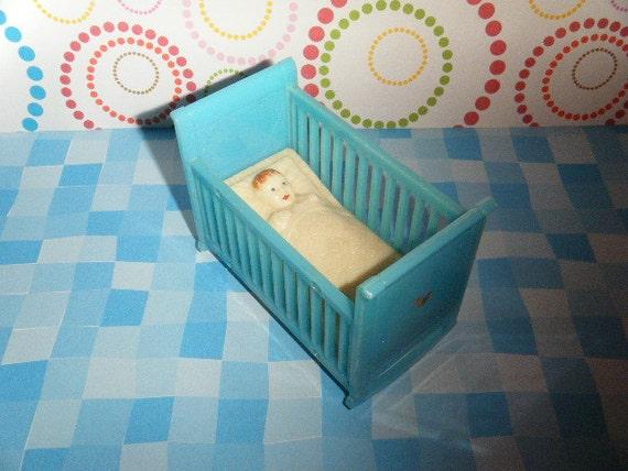 Vintage Renwal Plastic Dollhouse Furniture Baby in Blue Crib SWEET Renewal
