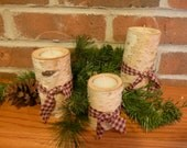 Three Tier Birch Candle Holders