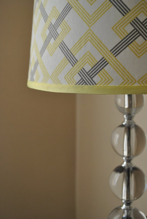 modern geometric lamp shade 100 cotton yellow gray and ivory 13. Black Bedroom Furniture Sets. Home Design Ideas