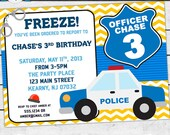 Police Officer Birthday Party Invitation - Invite Card - Personalized invitation - Policeman Invitation- blue and yellow