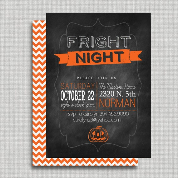 Halloween Party Invitation- Printable Two Sided, Fright Night, Chevron, Chalkboard