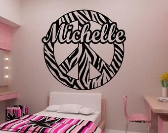 "Zebra Stripe Peace Sign w/ custom text Vinyl Wall Decal Sticker Art 34"""