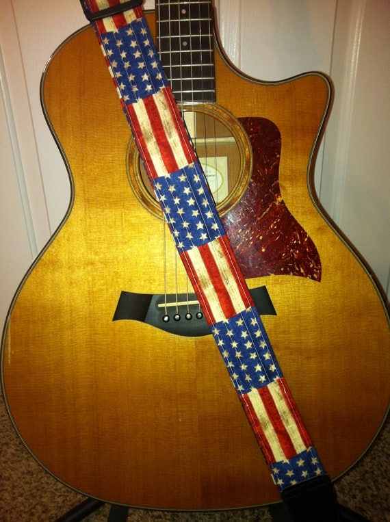 guitar strap handmade american flag. Black Bedroom Furniture Sets. Home Design Ideas
