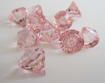 10 Acrylic Crystal Gem Pendant Beads - Light Pink - Tiny Small 12mm