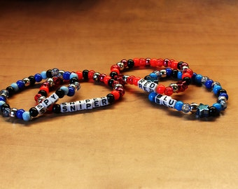 Team Fortress 2 Themed Kandi Bracelet Singles 2 pack - MADE TO ORDER