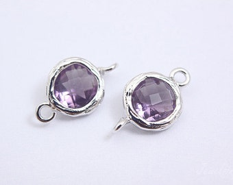 S051- 20PCS - Rhodium plated -Amethyst -Glass