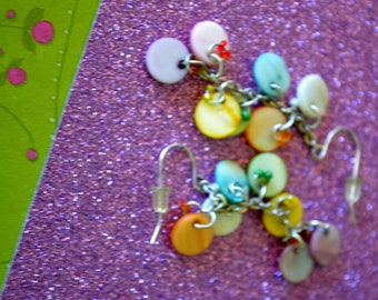 Multi-Colored Rainbow Beaded Dangle Earrings
