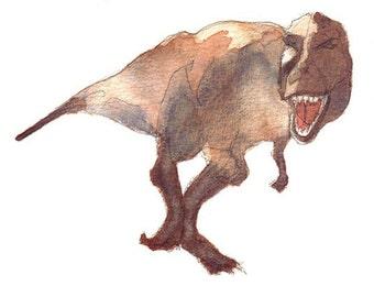 Tyrannosaurus Rex art print,  297 x 210 mm A4