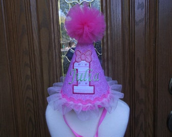 Girls 1st Birthday Party Hat -- Pink Birthday Hat  - Free Personalization