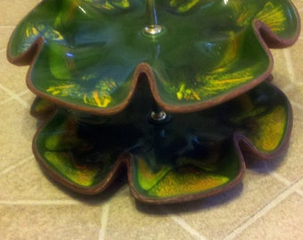 Vintage Green Swirl 2-tiered USA Serving Tray with Handle