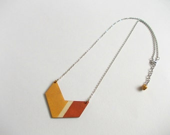 Geometric Necklace, Wood Chevron Necklace,Wood Mint Necklace,Geometric Jewelry