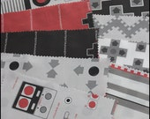8bit Labels Red - One Fat Quarter of Nintendo themed Kona Cotton Fabric