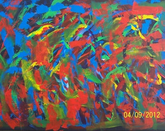 """Original Abstract Acrylic Painting """"The Tempest"""" 24 x 36 inches"""