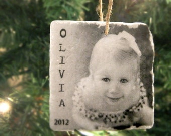 Personalized Photo Ornament - Tumbled Marble 2in. x 2in. -  Photo Christmas Ornament - Custom Ornament - Tile Ornament - In Memory Ornament