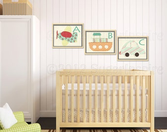 Nursery Art Print Set, Kids Room Decor, Baby/Children Wall Art - Colorful, ABC, Airplane, Boat, Car, Red, Orange, Teal