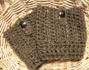 Brown Boot Socks ,  Womens Crocheted Boot Cuffs , Boot Socks With Buttons