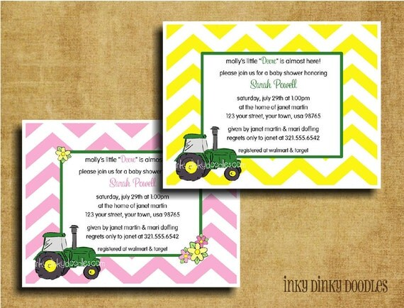 Green Tractor Baby Shower Invitation Perfect For John Deere