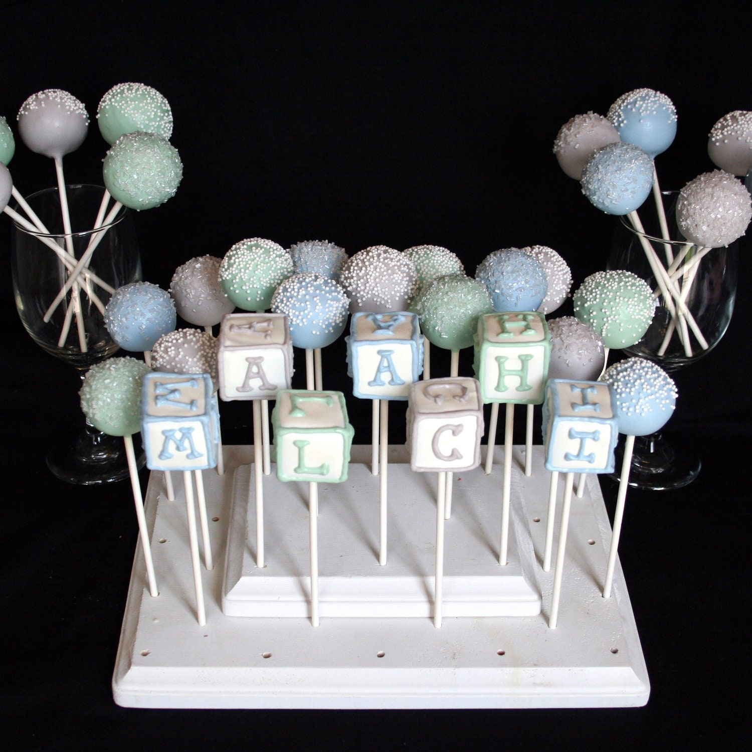 6 Baby Block Cake Pops personalized with name by ...