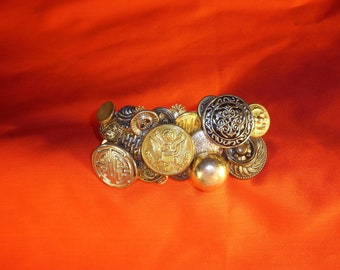 Handcrafted Barrette  With Vintage Brass and Other Metal Buttons