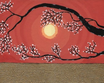 Abstract Modern Asian Zen Tree Landscape Painting Original Art by Manu 9x12