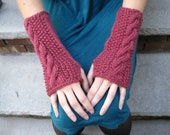 Cable Knit Wool Fingerless Gloves