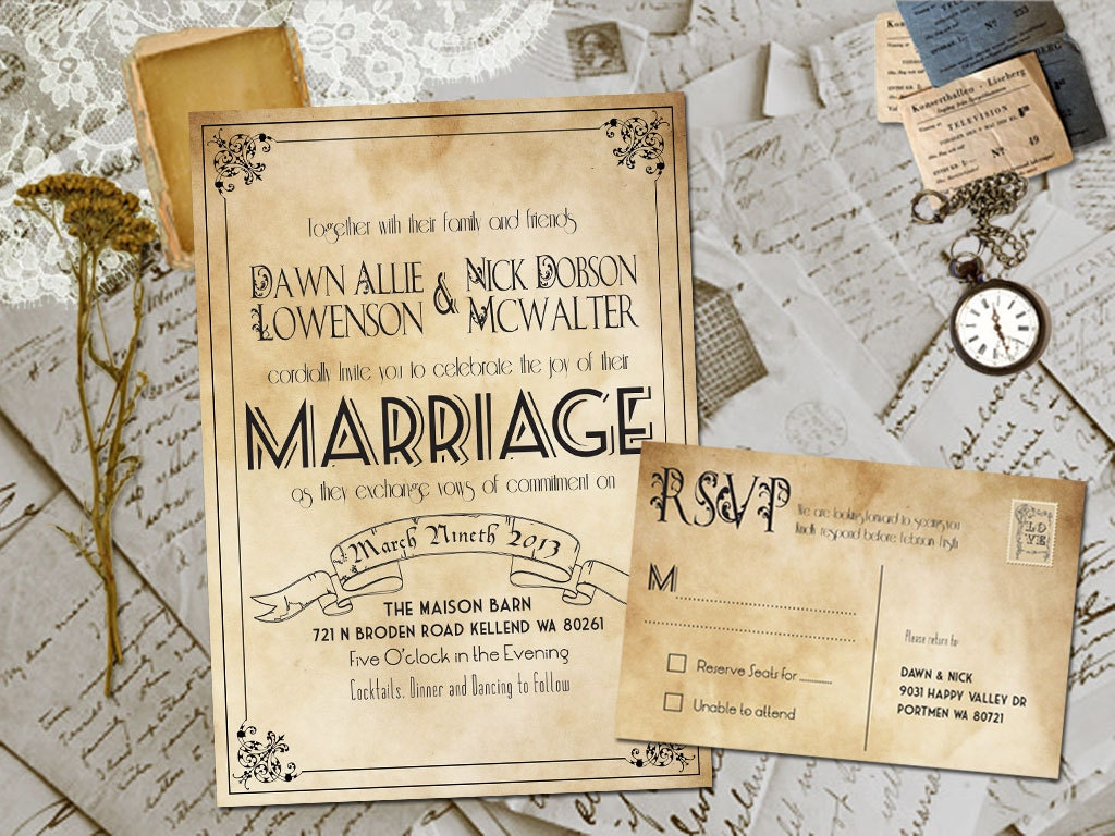 Invitation Wedding Card: Wedding Invite And RSVP Marvelle Vintage Rustic Personalized