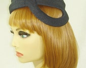 Vintage millinery black straw tilt hat 1950's  - Add trim