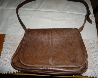 Genuine Vintage Brown Leather Purse Shoulder Hand Bag Adjustable Shoulder Strap