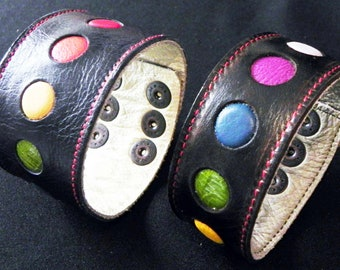Leather Wrist Strap with Chakra Colored inlays.