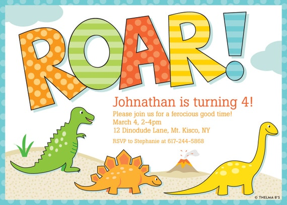 Items similar to Dinosaur Invitation Dinosaur Party Invitation