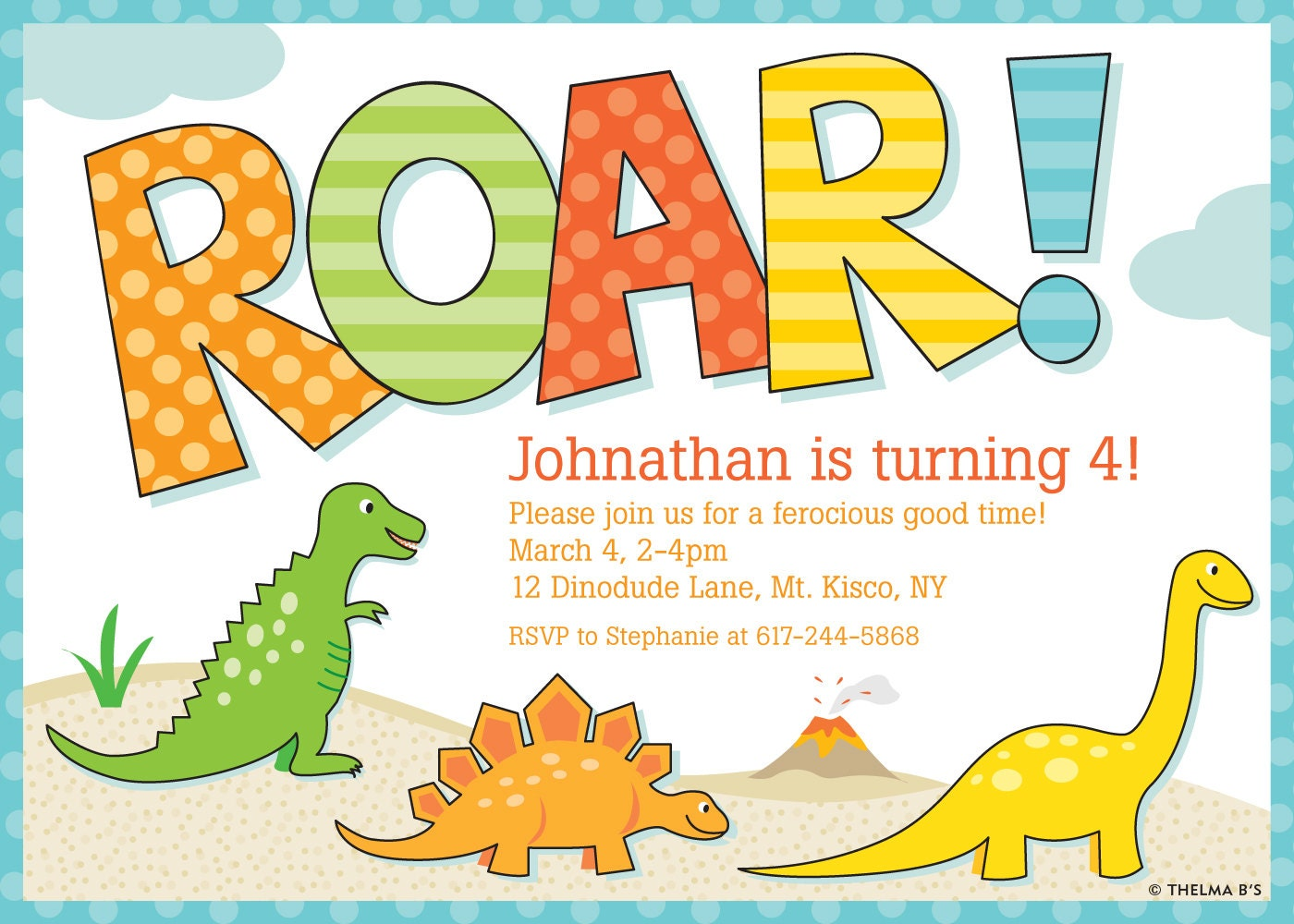 Lively image intended for printable dinosaur birthday invitations