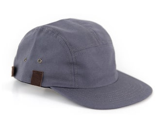 Gray 5 Panel Camper Hat, Canvas Leather Snapback, Made in the USA