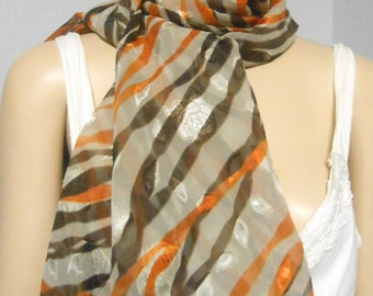 Wavy Stripes  Long Neck Scarf Great Fall Colors
