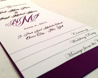 DIY - 5 PAGE Layered Wedding Program Template - Monogram Design - w/ Guided Instructions