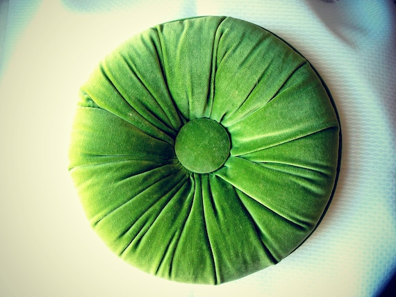 10 Avacado Green Velvet Round Tufted Throw Pillow By Chikibird