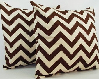 2 Chevron Brown Throw Pillow Covers - Brown Pillows - Brown and Beige Couch Pillow Throw Pillow Cushion Cover - Brown Pillow Cover