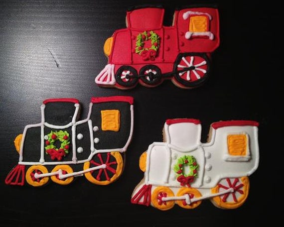 Christmas Train Hand Decorated Sugar Cookies - 1/2 dozen