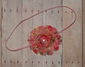 Country Floral Shabby Rose Headband/Clip
