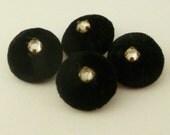 Vintage 1940s Buttons 4 Black Velvet Covered Rhinestone Center Shank 5/8 inch 16mm